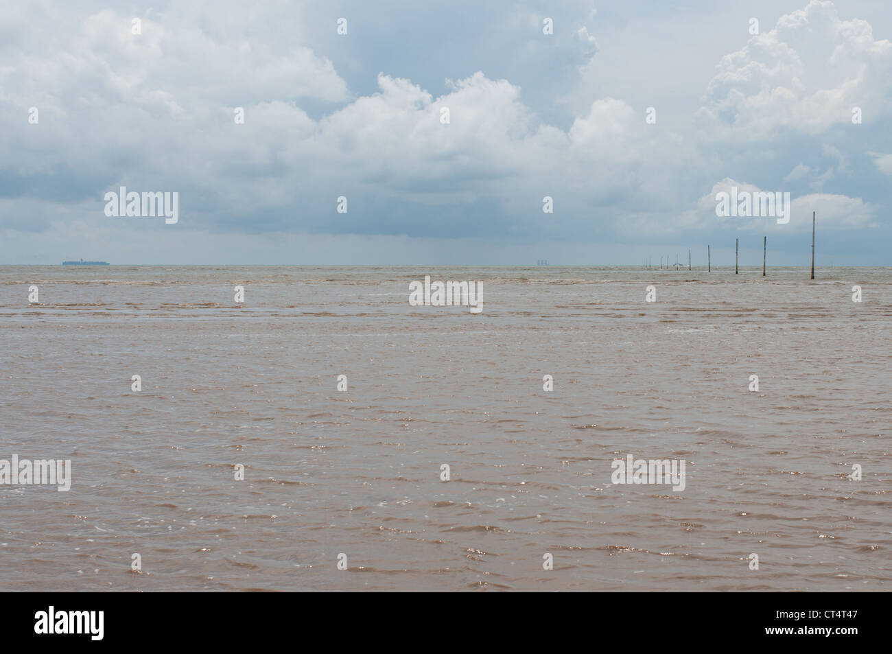 Open muddy sea with blue sky - Stock Image