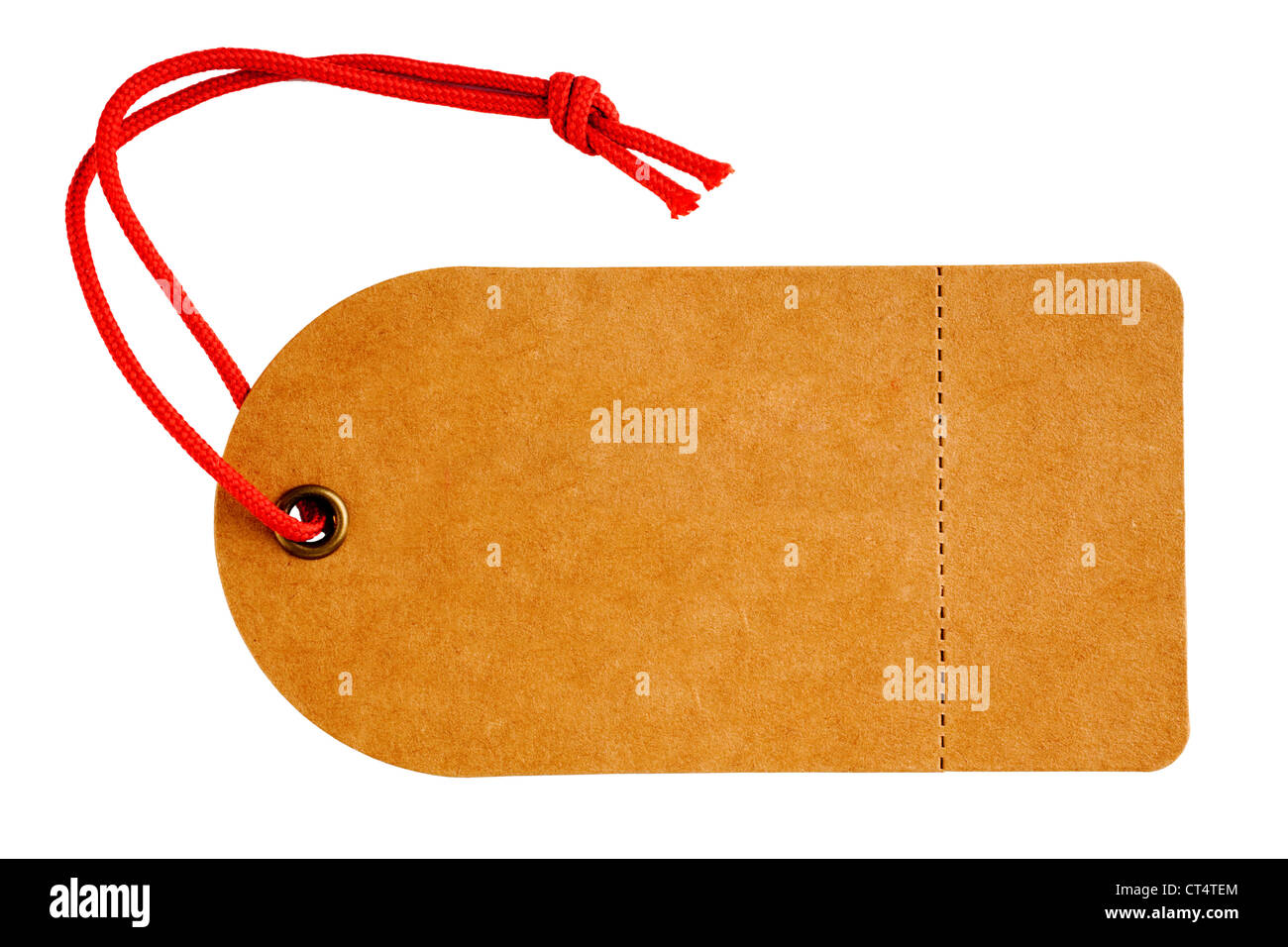 Sales tag or swing ticket, made from a rough textured brown card, with red string, - Stock Image