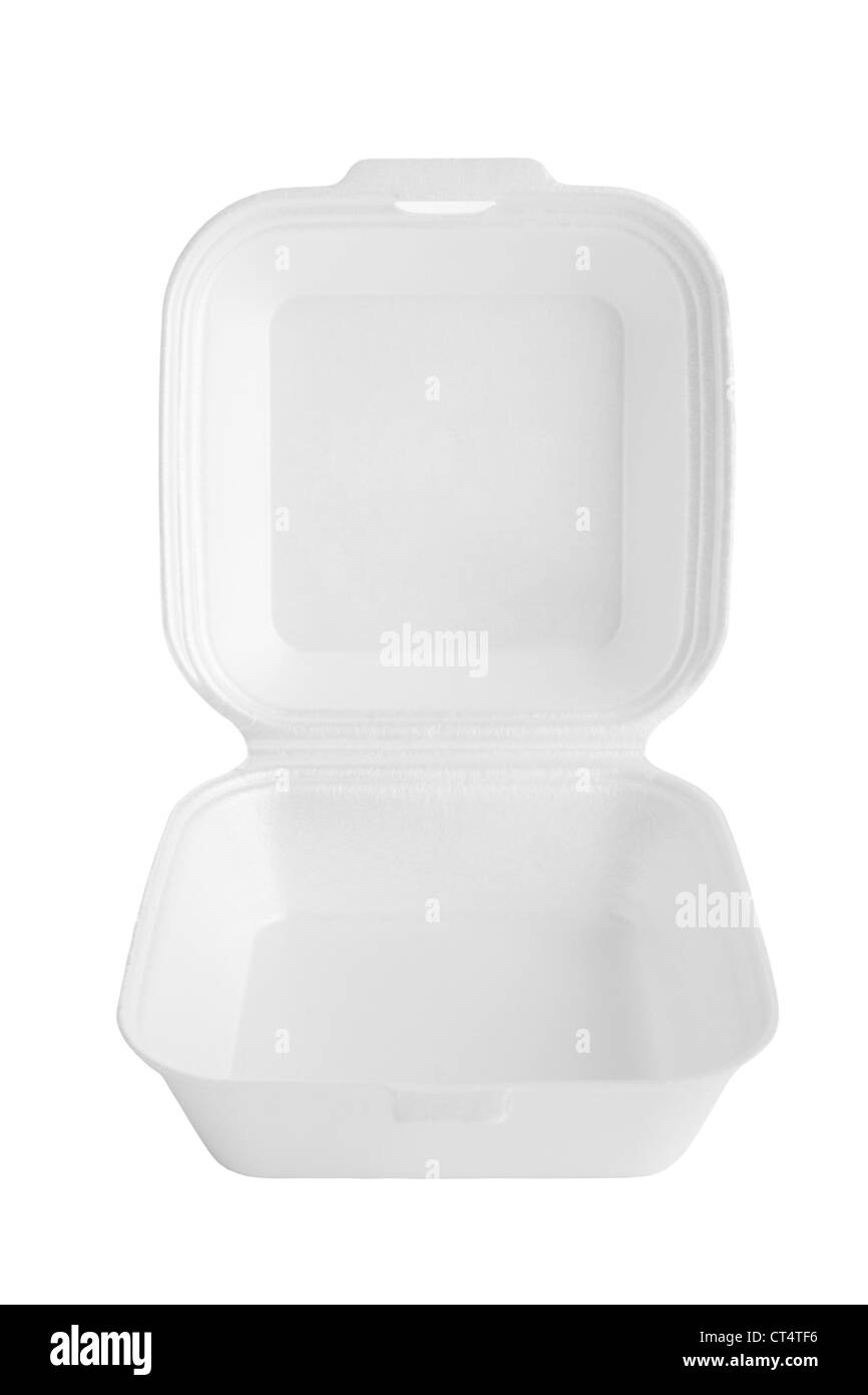 Square polystyrene container with lid up, for fast food. - Stock Image