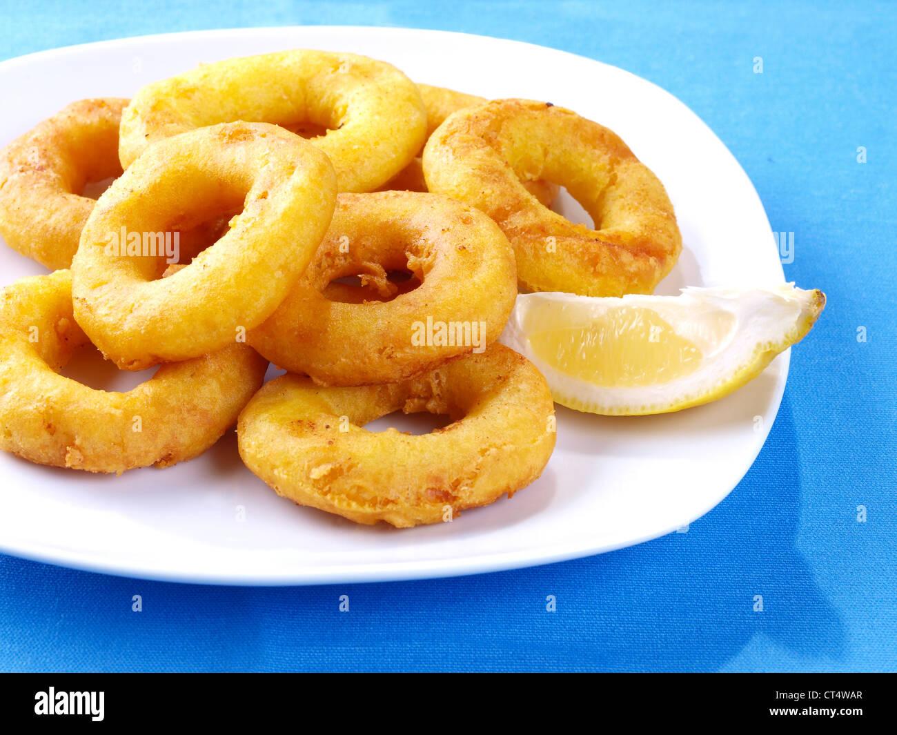 Calamares a la romana – Fried Calamari - Stock Image