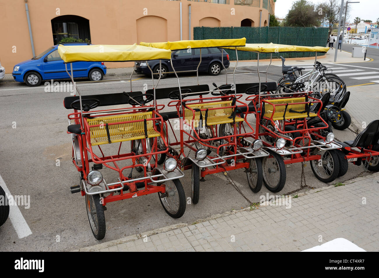 Pedal Car Bicycles For Hire Menorca Spain Stock Photo 49281323 Alamy