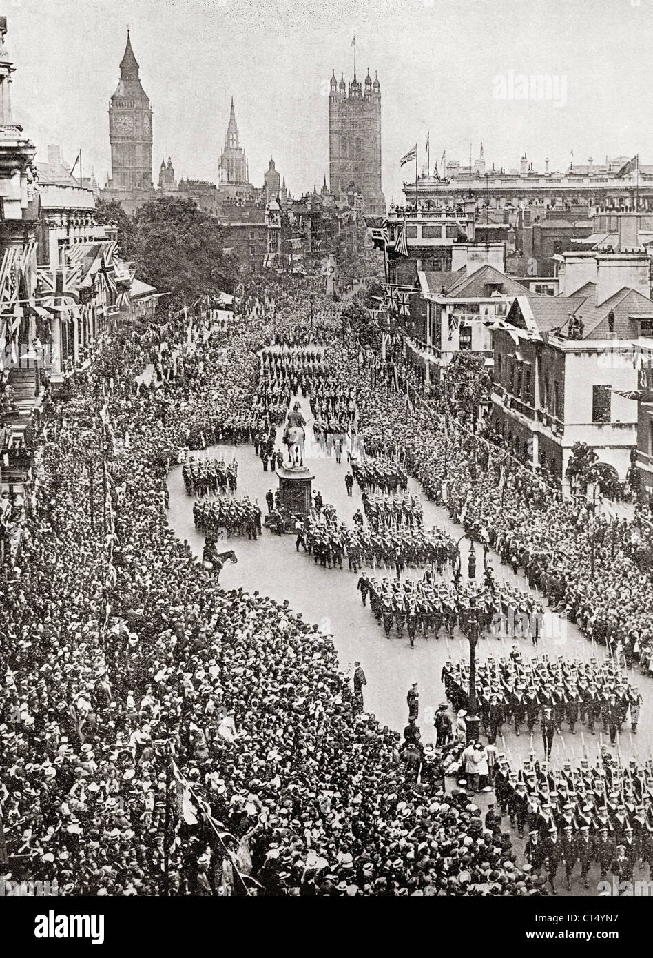 The British Navy in the Victory March of July 19th, 1919 in Whitehall, London, England celebrating the end of World - Stock Image
