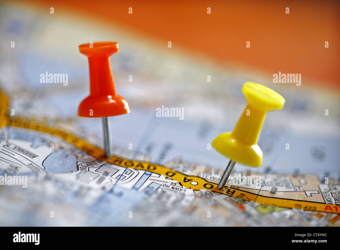 Pushpin on map - Stock Image