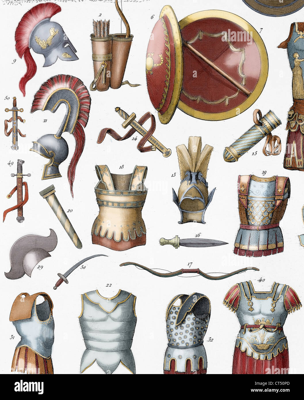 Roman army. Armors and weaponry. Colored engraving. 19th century. - Stock Image