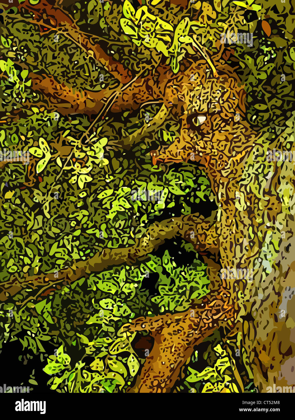 Illustration (semi vector) of an anthropomorphic tree. This is part of a series called 'march of the Huorns'. - Stock Image