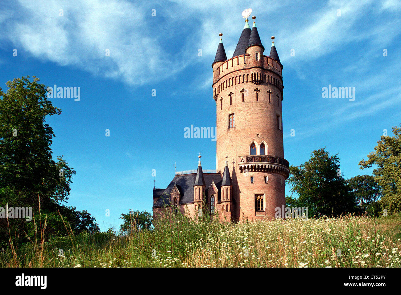 Potsdam, the Flatow Tower in Park Babelsberg Stock Photo