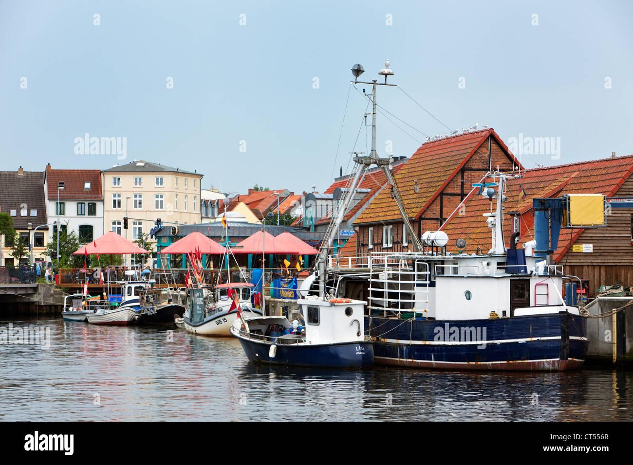 Fishery harbour at Wismar, Mecklenburg-Vorpommern - Stock Image