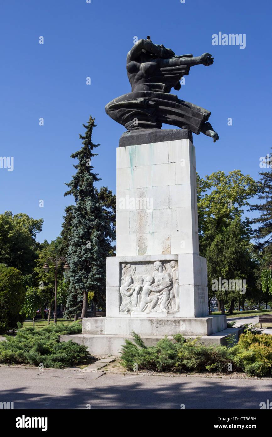 Belgrade city center in Serbia Kalemegdan monument of gratitude to France - Stock Image
