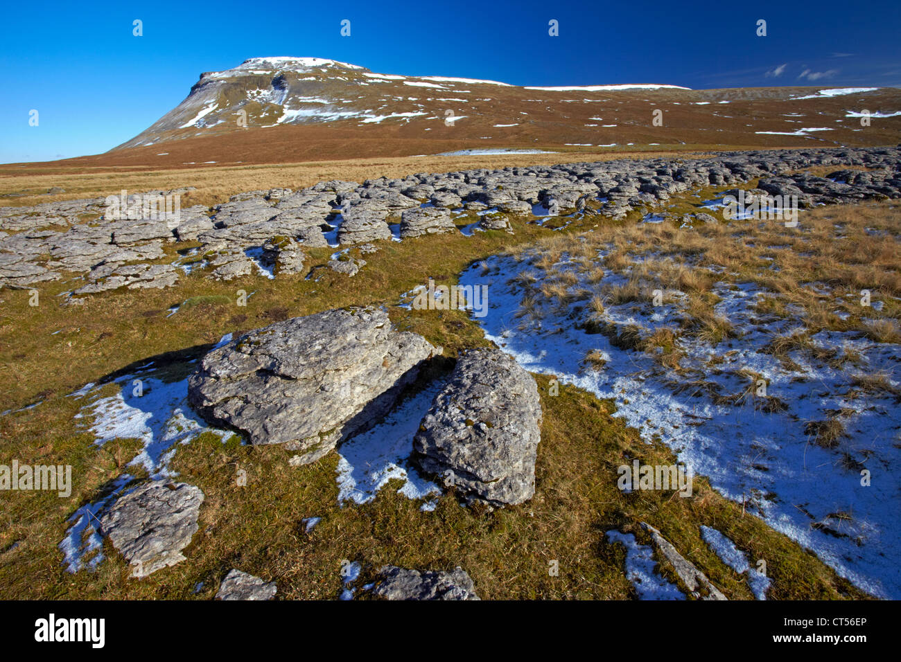 Ingleborough, one of Yorkshire's famous three peaks, seen from the limestone pavement near White Scars Stock Photo