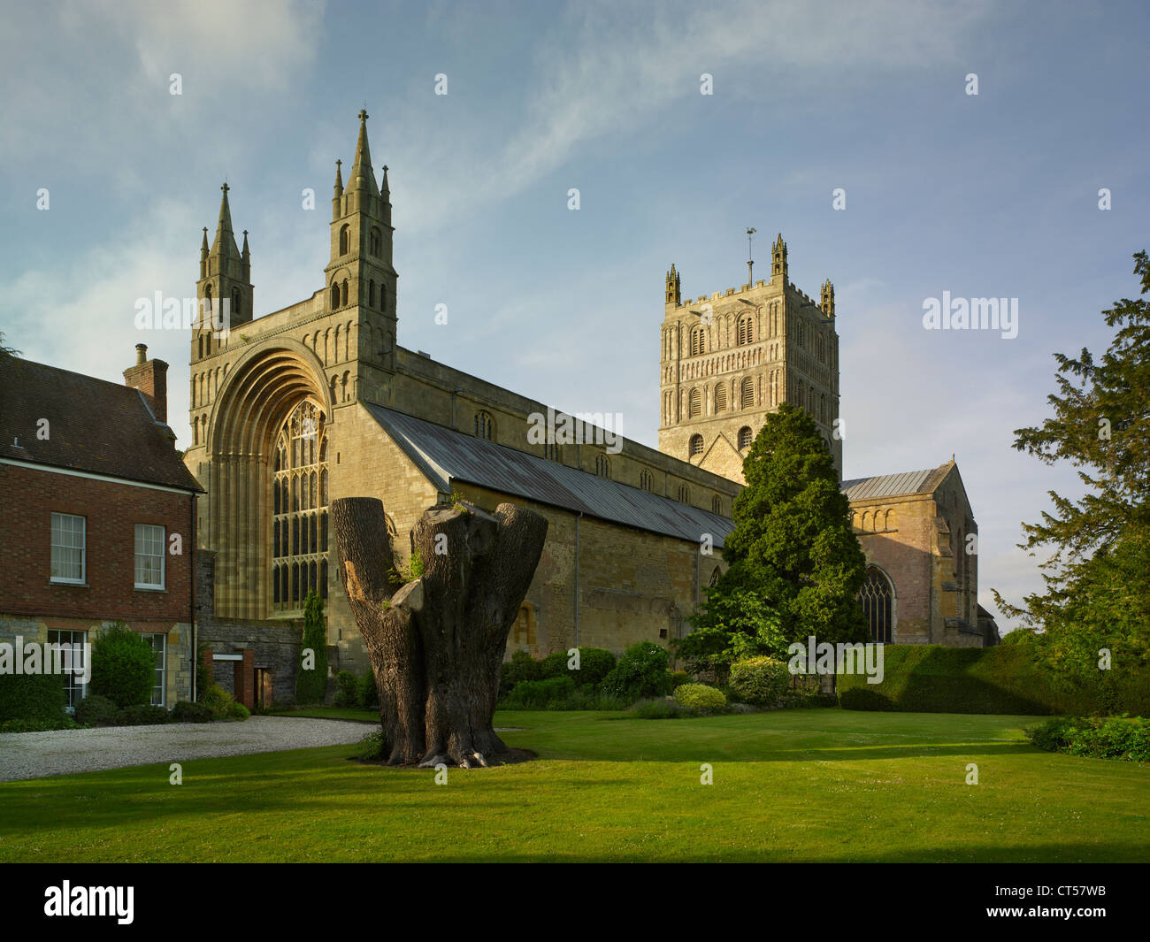 Tewkesbury Abbey from southwest, Norman architecture - Stock Image