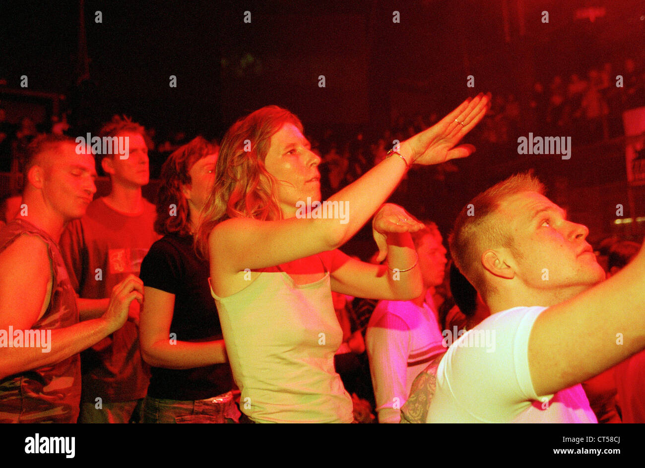 Berlin dance, young people and celebrate on a techno party