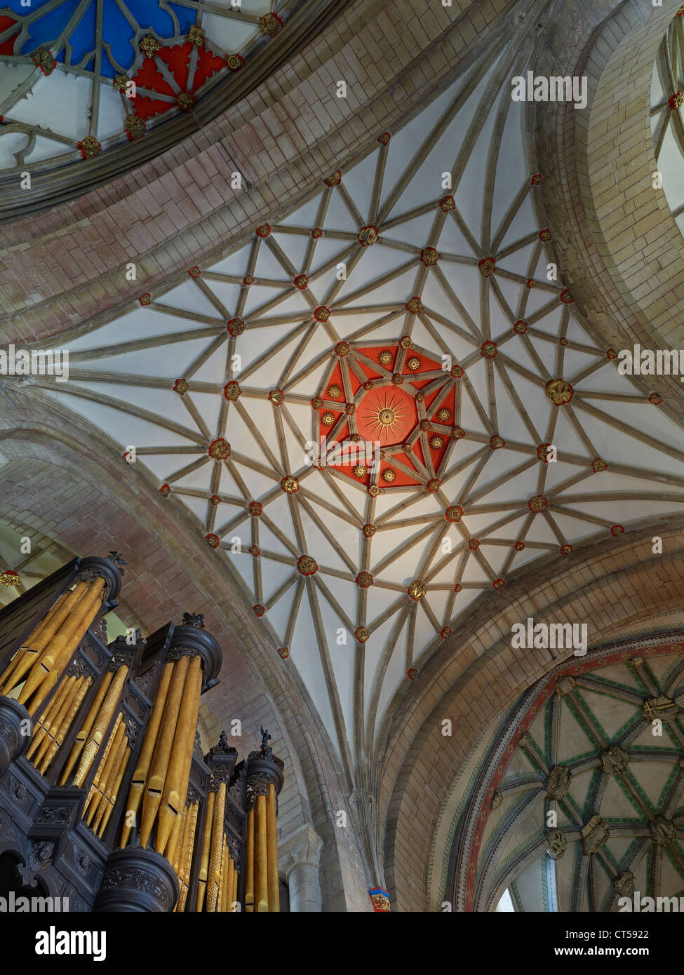 Tewkesbury Abbey net vaulting in quire or choir - Stock Image