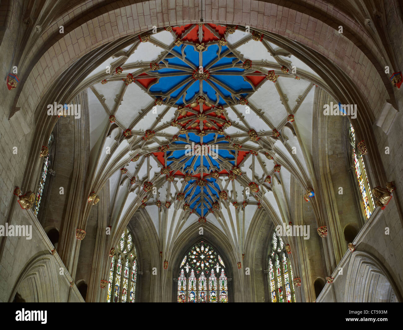 Tewkesbury Abbey lierne vaulting at east end - Stock Image