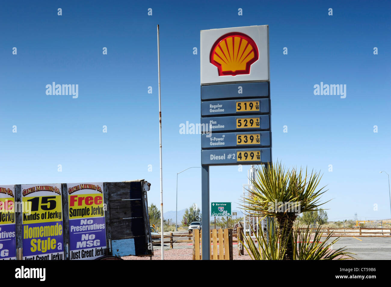 Shell Gas Station Sign Showing Gas Prices Junction Of Interstate 15