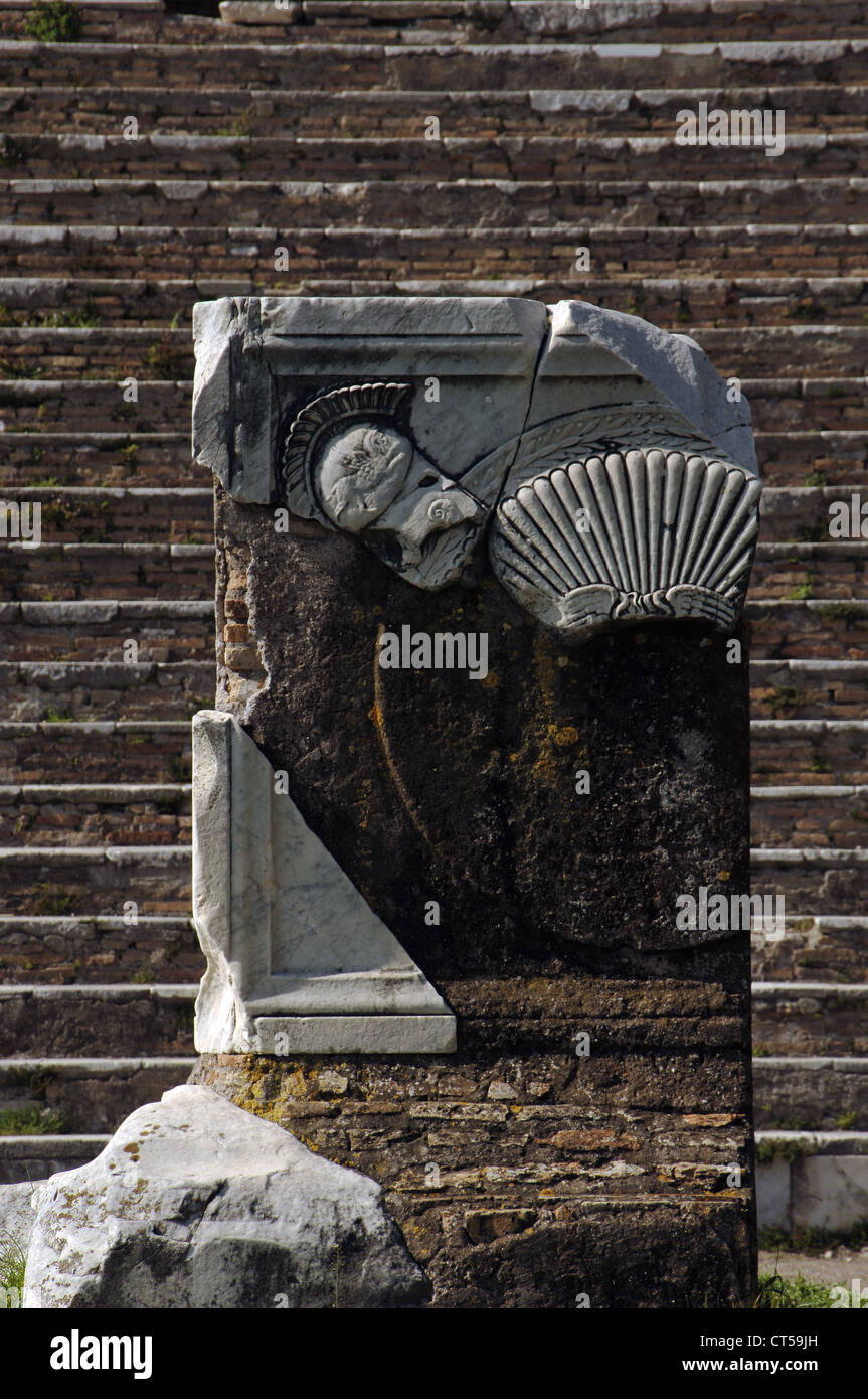Ostia Antica. Capitolium. The marble altar with the frieze of weapons. 120 AD. Italy. - Stock Image