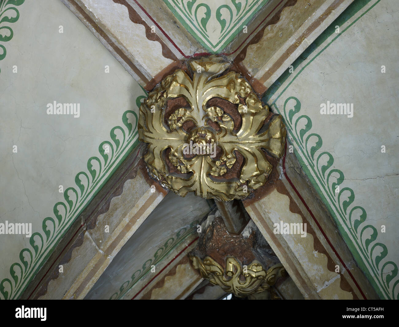 Tewkesbury Abbey, nave roof boss - Stock Image