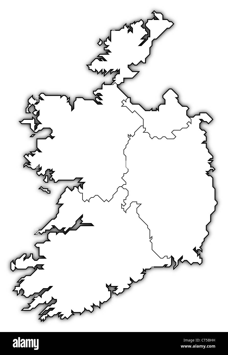 Political map of Ireland with the several provinces. - Stock Image