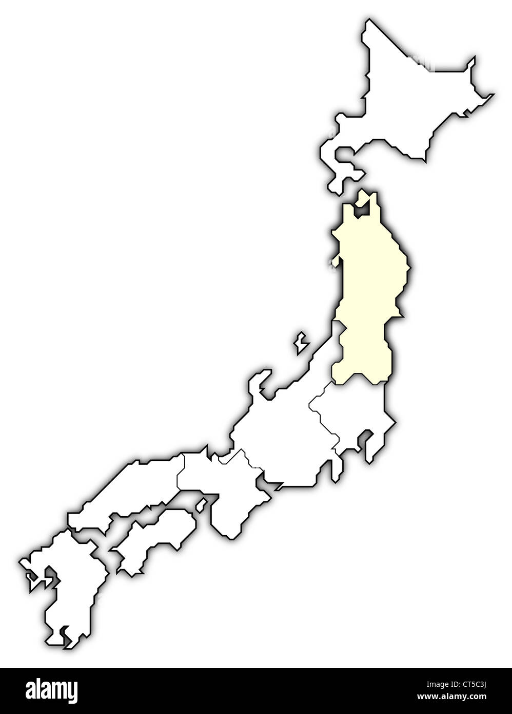 Political Map Of Japan With The Several Regions Where Tohoku Is