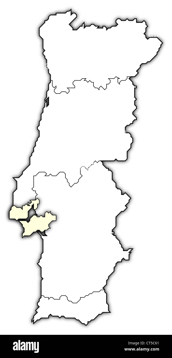 Political map of Portugal with the several regions where Lisboa Region is highlighted. - Stock Image