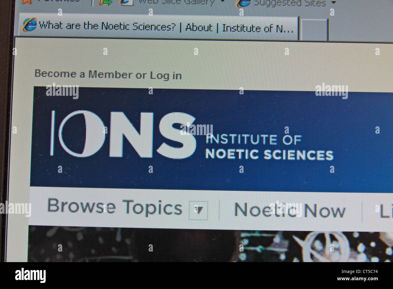 Screen view of The Institute of Noetic Sciences website. - Stock Image