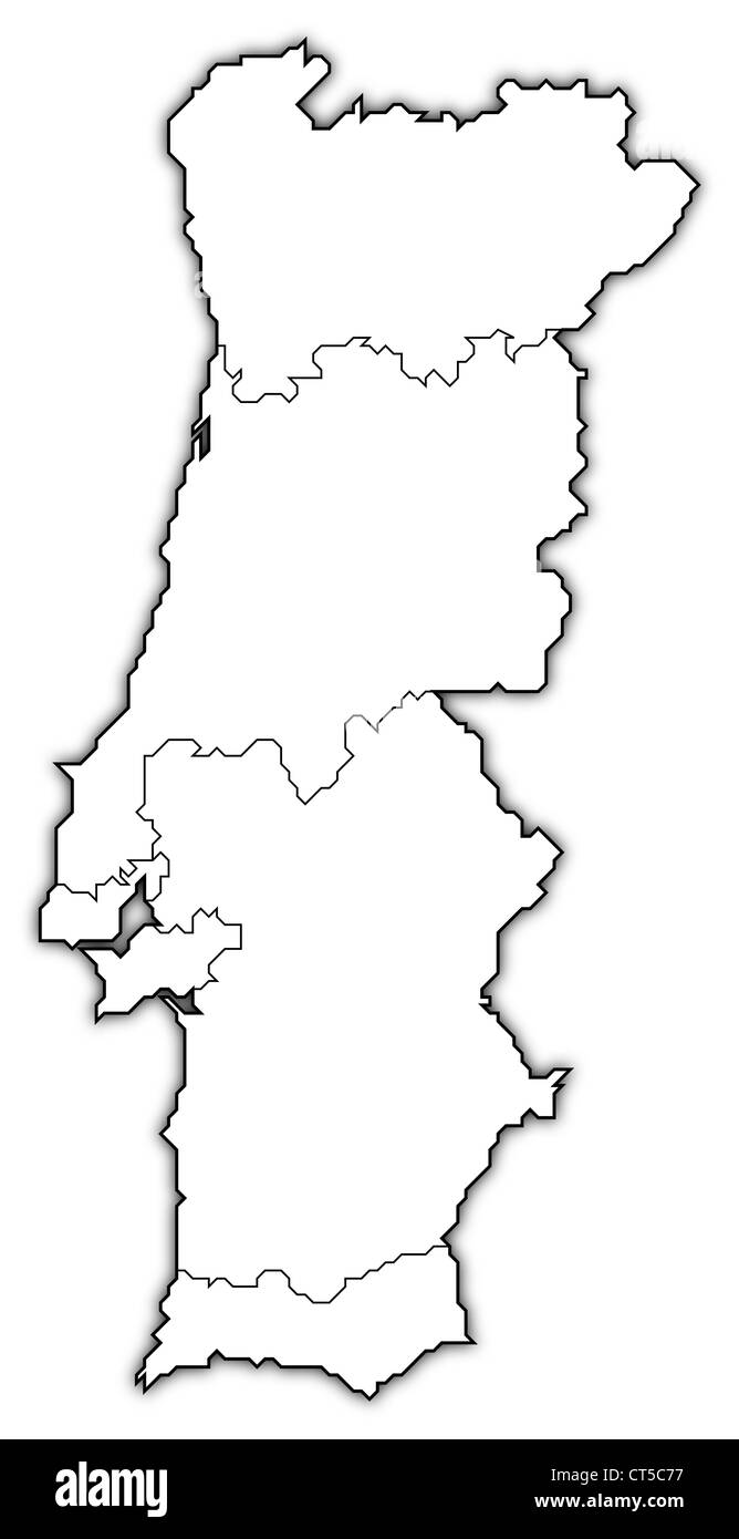 Political map of Portugal with the several regions. - Stock Image