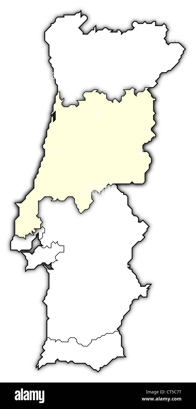 Political map of Portugal with the several regions where Centro Region is highlighted. - Stock Image