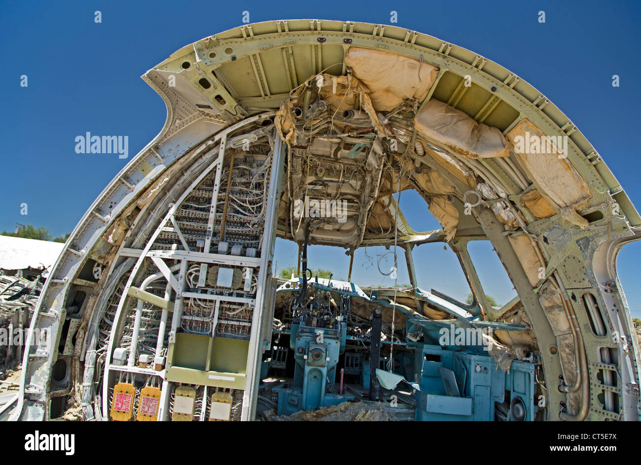 El Mirage, California - An airliner's cockpit in a scrapyard for aircraft parts. - Stock Image