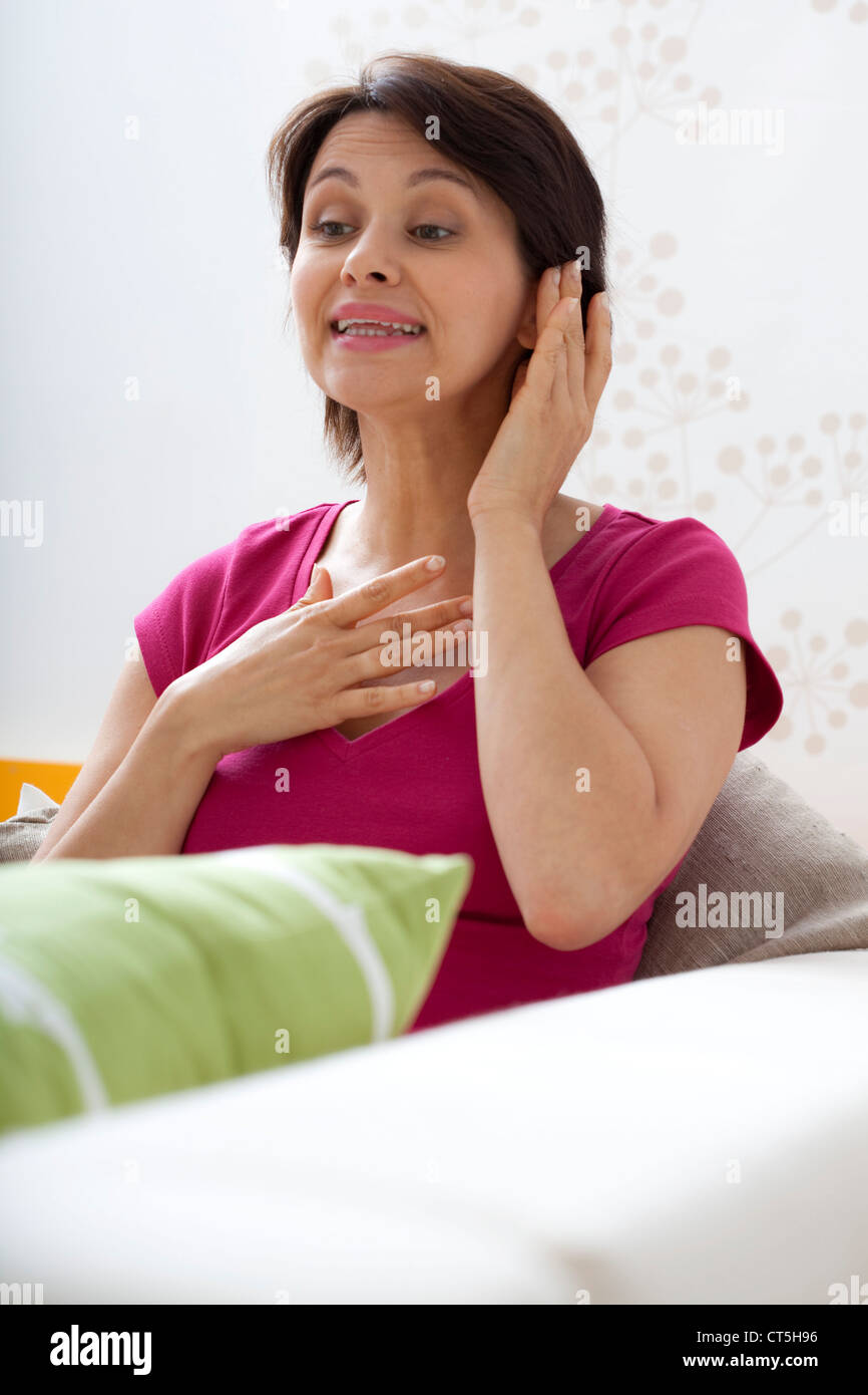 WOMAN IN SPEECH THERAPY - Stock Image