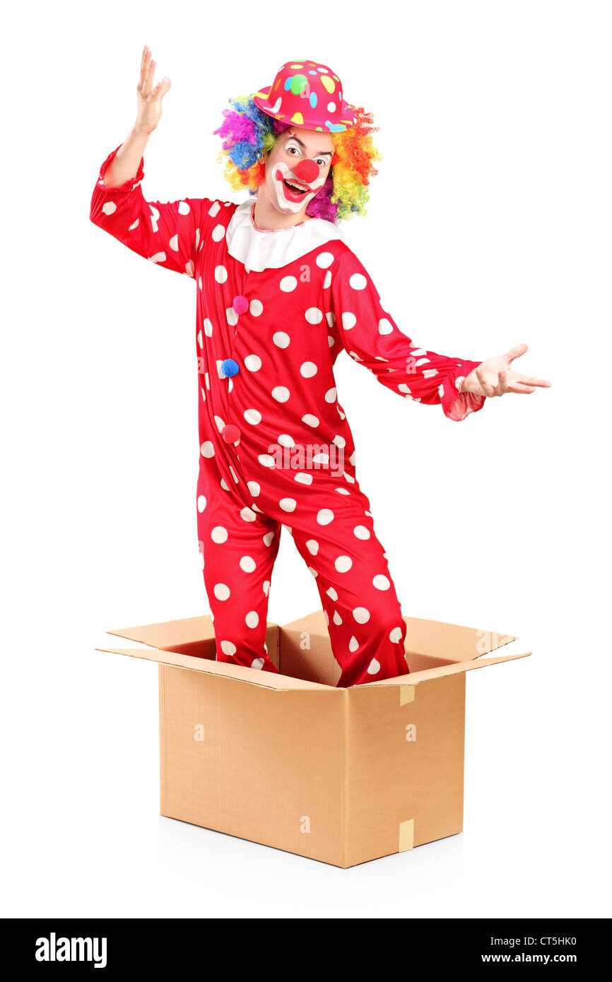 A smiling clown coming out of a cardboard box isolated on white background - Stock Image