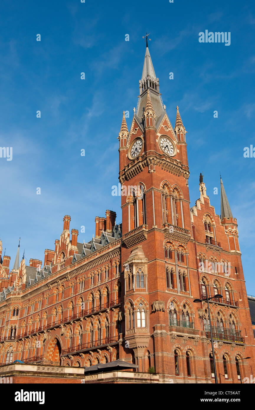 St Pancras Railway Station on a summers day in London England. - Stock Image