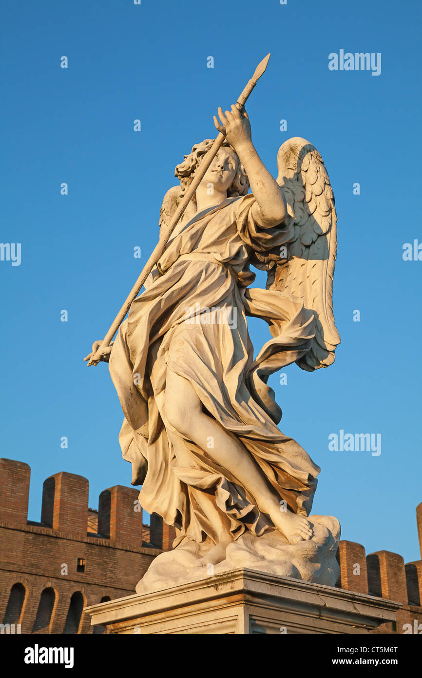 Bernini's marble statue of angel with spear from the Sant'Angelo Bridge in Rome, Italy Stock Photo