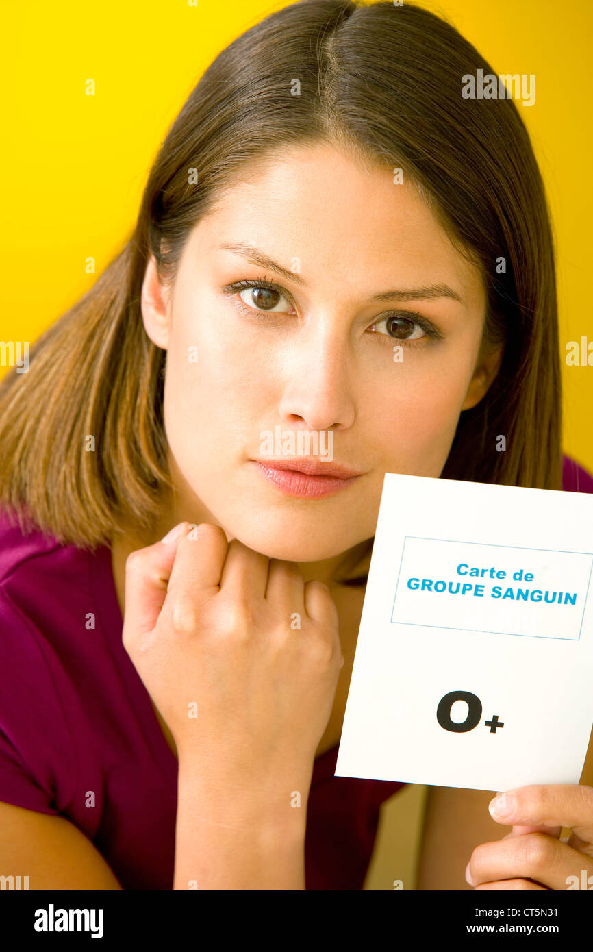 BLOOD GROUP CARD - Stock Image