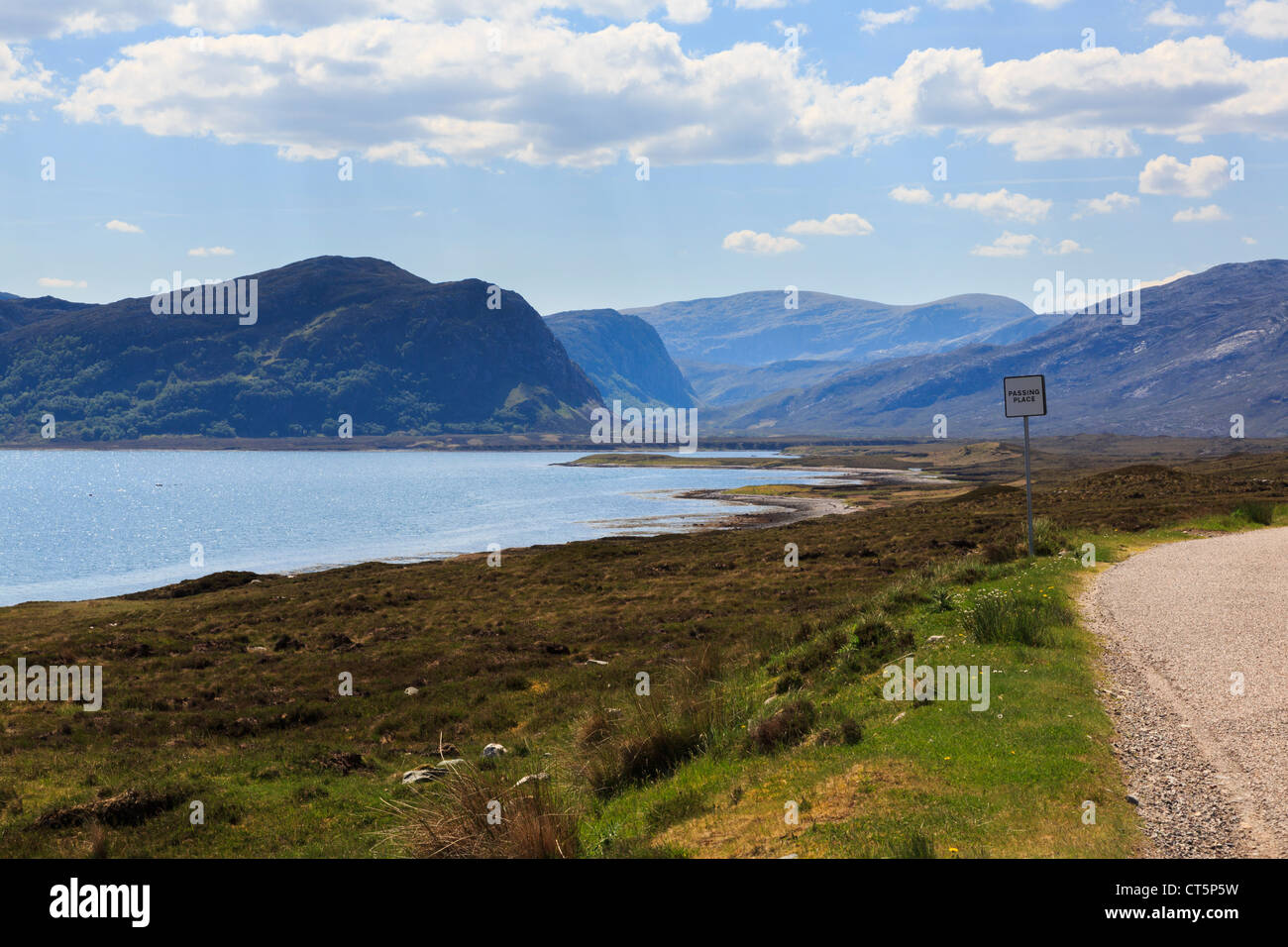 Single track north coast 500 road A838 on North and West Highlands Tourist Route passing Loch Eriboll. Sutherland - Stock Image