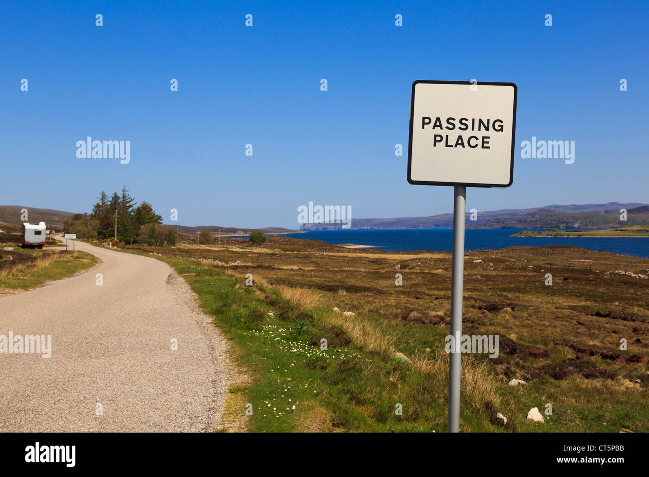 Passing place sign on single track road A838 on North and West Highlands North Coast 500 Tourist Route Sutherland - Stock Image