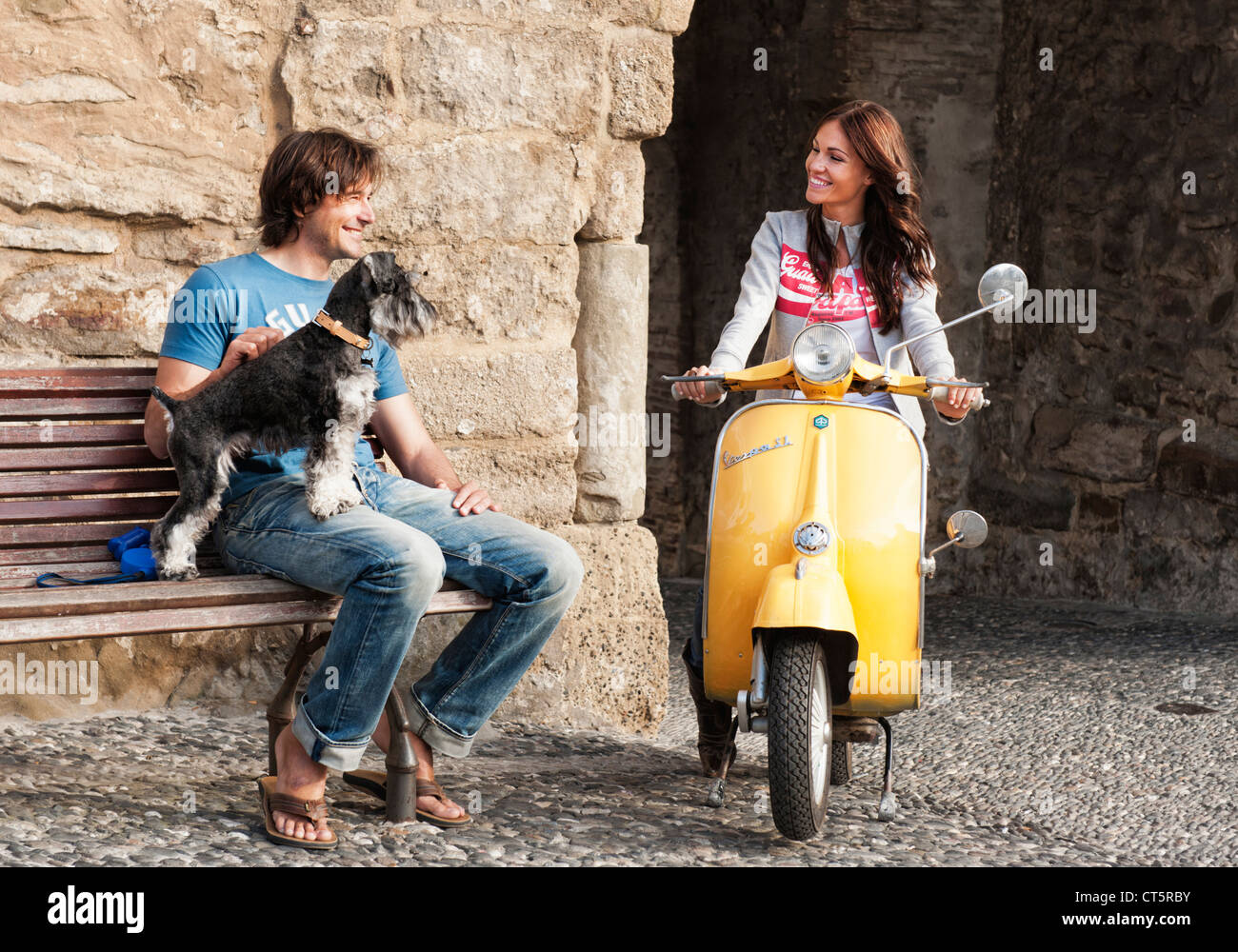 Couple with pet dog. Stock Photo