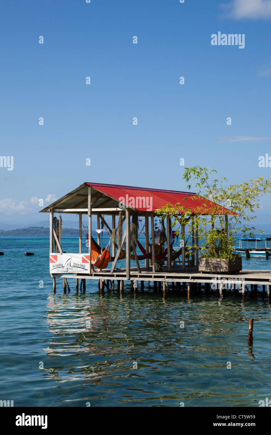 Wooden dock in the Afro-Caribbean town of Old Bank on Isla Bastimentos, Bocas del Toro, Panama. - Stock Image