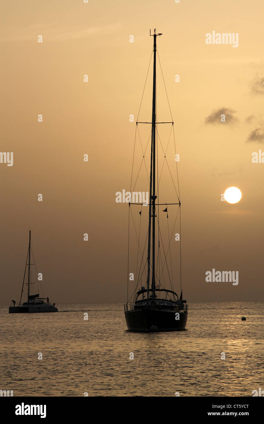 Sailboat at anchor in Bequia - Stock Image