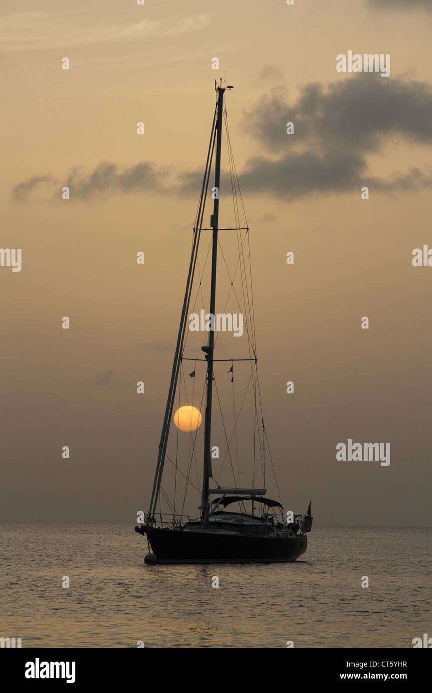 Sailboat at anchor in Bequia Stock Photo