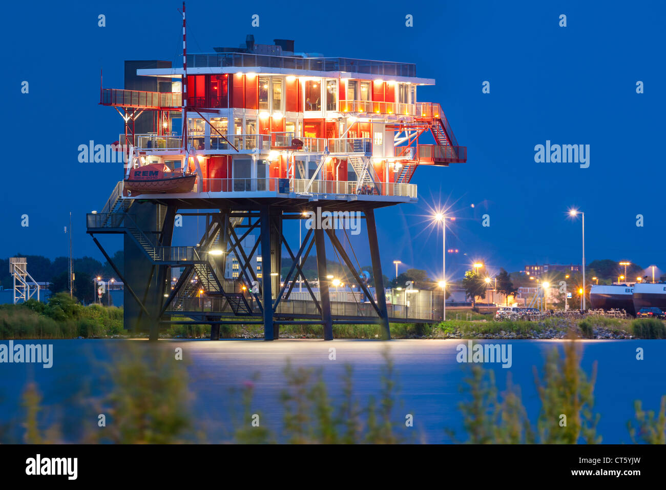 Amsterdam REM eiland, REM island restaurant. A former North Sea pirate TV station now in the Amsterdam harbor, harbour - Stock Image