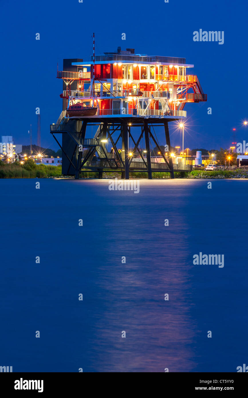 Amsterdam REM-eiland, REM-island restaurant. A former North Sea pirate TV station now in the Amsterdam harbor, harbour - Stock Image