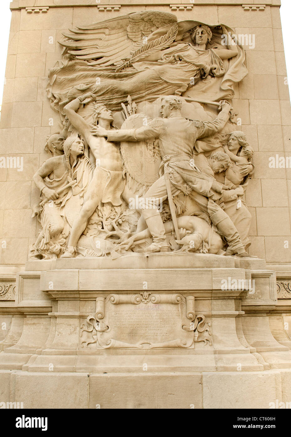 Detail of the decorative sculpture on the Michigan Avenue Bridge in Chicago, Illinois, USA. - Stock Image