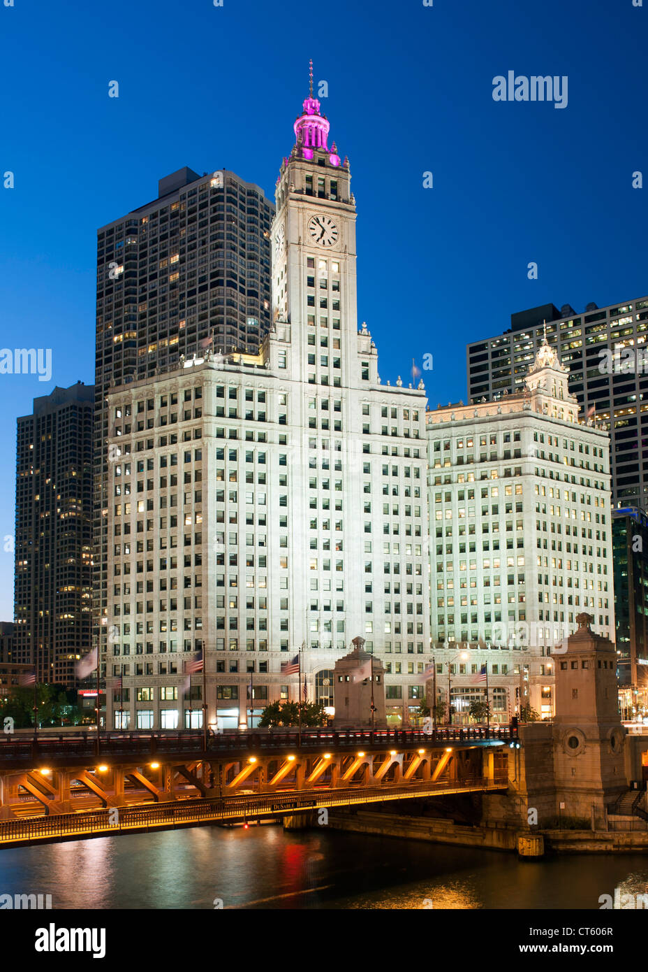 Night-time view of the Michigan Avenue Bridge (officially DuSable Bridge) and the Wrigley building in Chicago, Illinois, - Stock Image