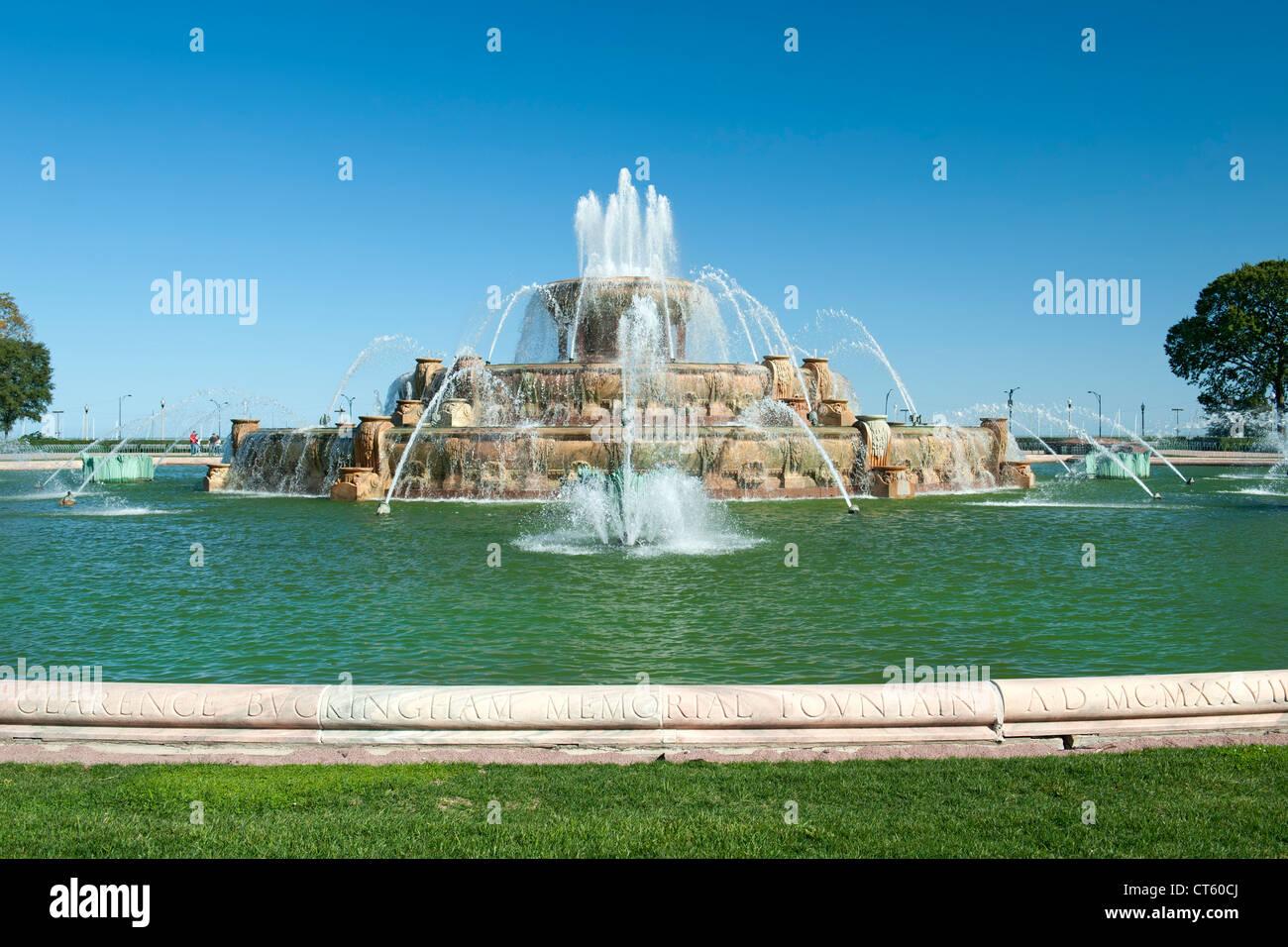 Buckingham fountain in Grant Park in Chicago, Illinois, USA. - Stock Image