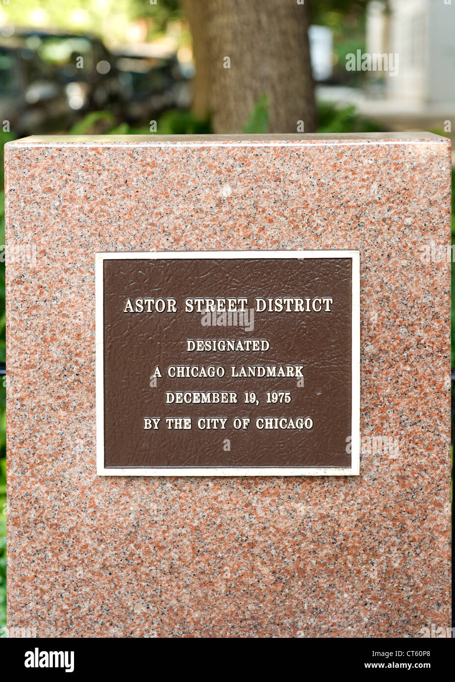 Astor Street district plaque in Chicago, Illinois, USA. - Stock Image