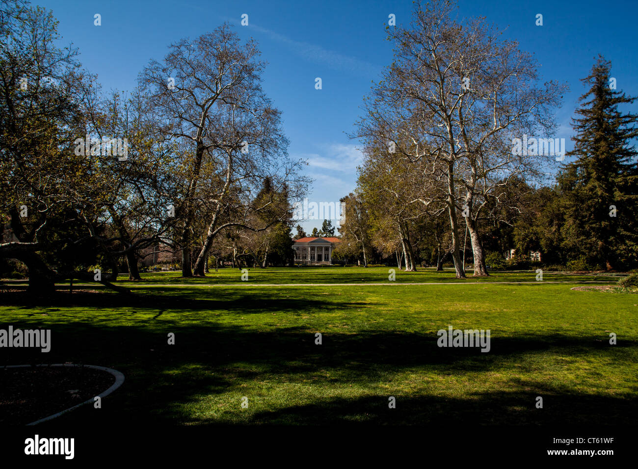 Marston quadrangle and the Carnegie building at Pomona College part of the Claremont Colleges in California - Stock Image
