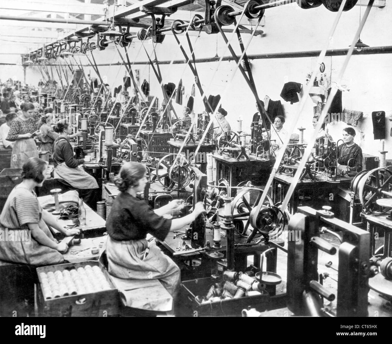 Women sewing in garment factory - Stock Image