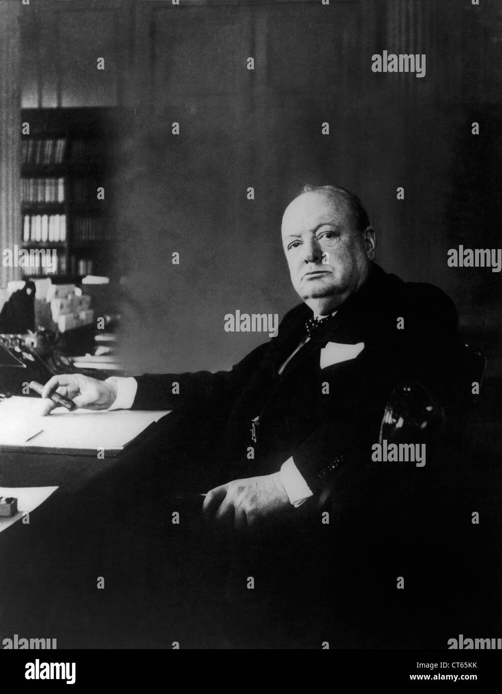 Portrait of Winston Churchill - Stock Image