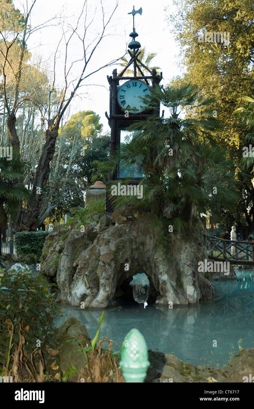 Hydro-chronometer or Water clock in the beautiful Villa Borghese Park, Rome, Italy. - Stock Image