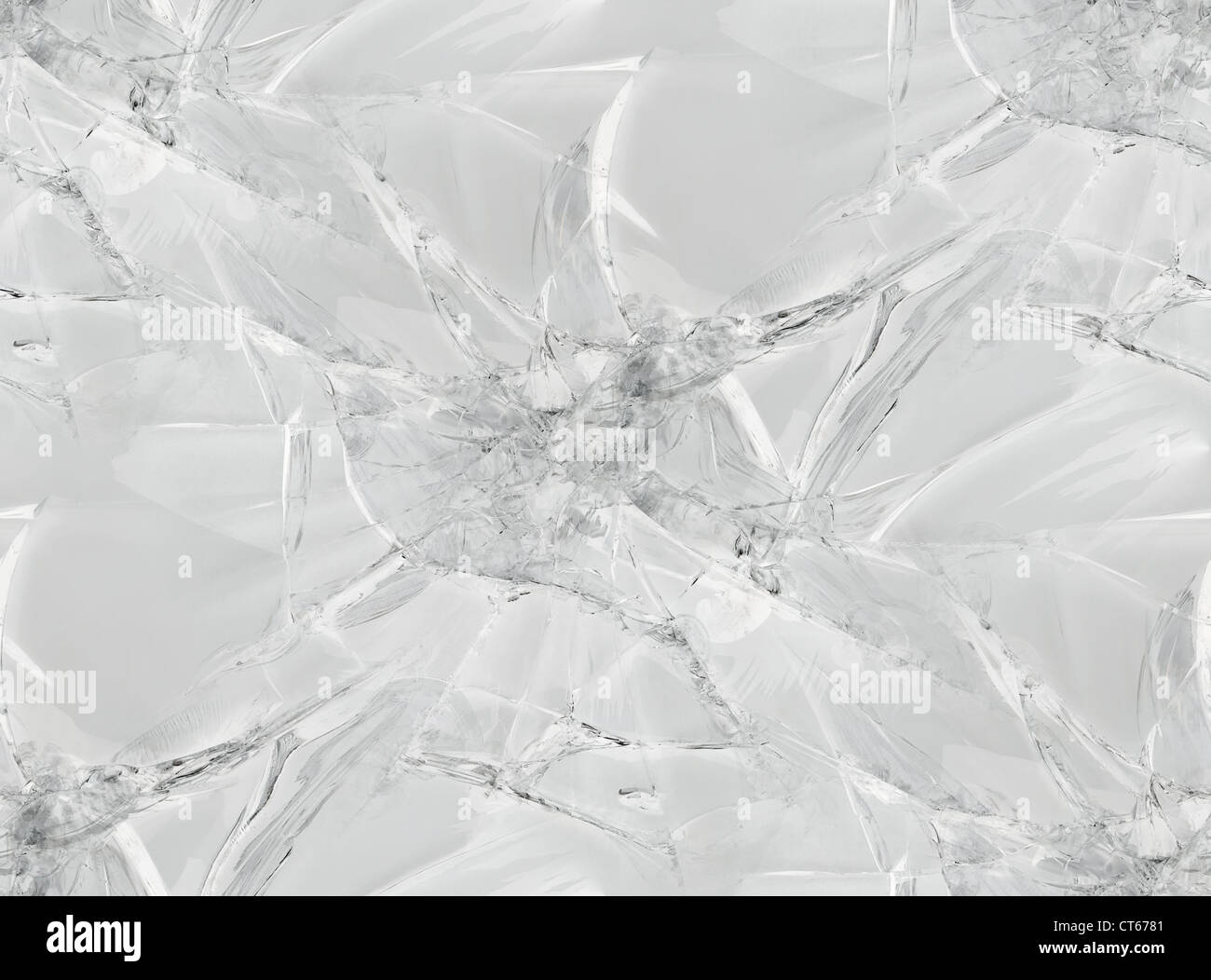 Gray Cracked Glass Seamless Pattern Texture - Stock Image