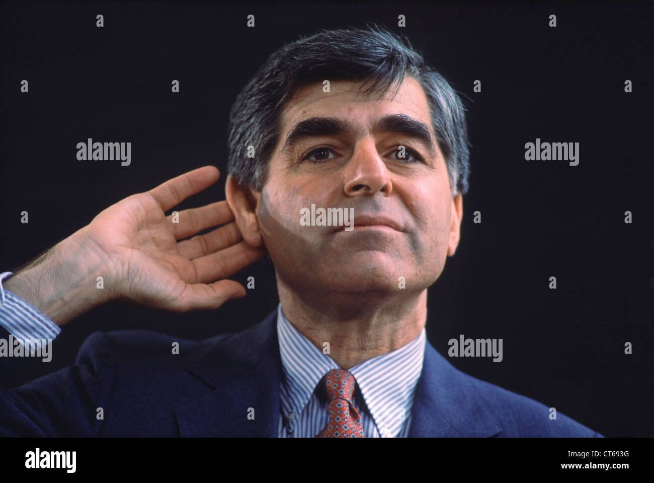 1988 Democratic Presidential candidate Michael Dukakis takes a question during a campaign stop in Silicon Valley, - Stock Image